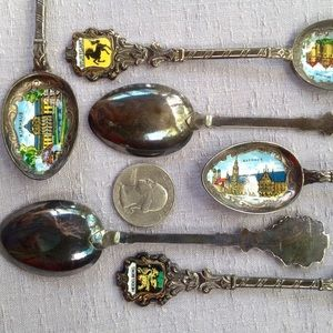 Vintage Souvenir Spoon Set German